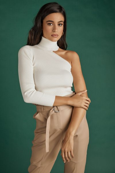 One Shoulder Knit Top – White