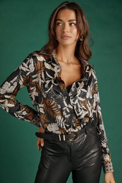 Fall Print Silky Shirt