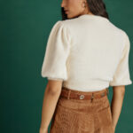 Soft Padded Shoulders Knit – Off White