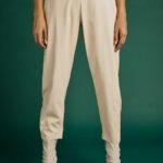 Cream Leather Pants
