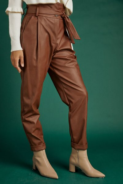 Belted Leather Pants – Brown