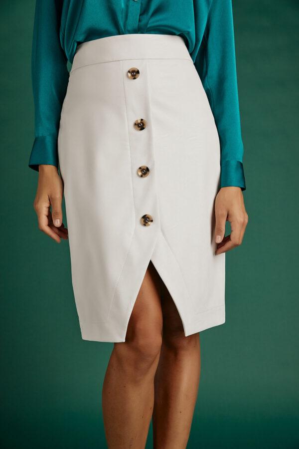 Leather Midi Skirt – White