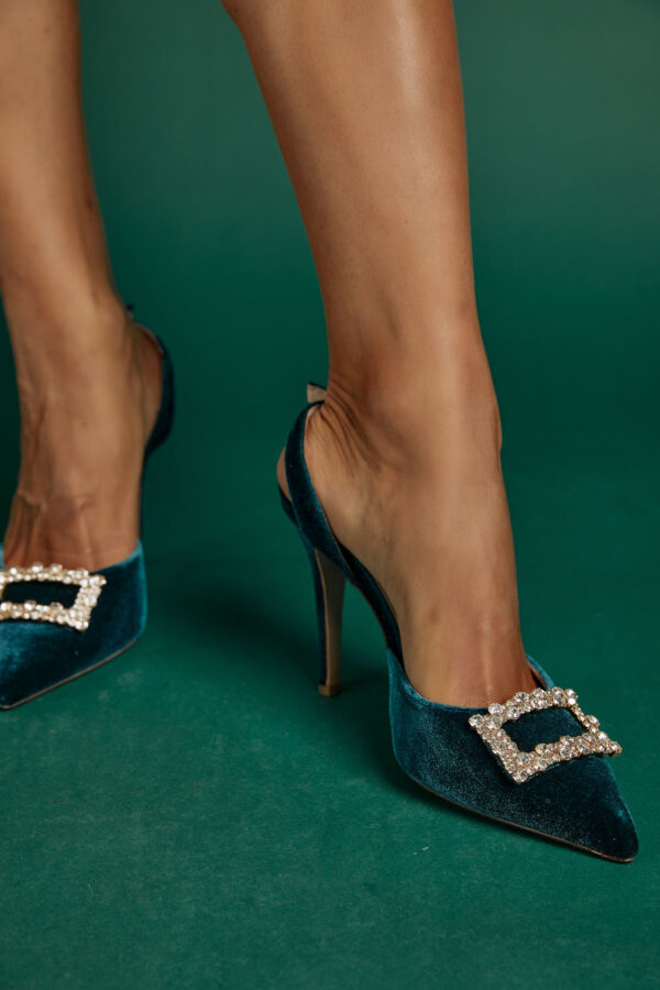Jeweled Pumps – Velvet Petrol