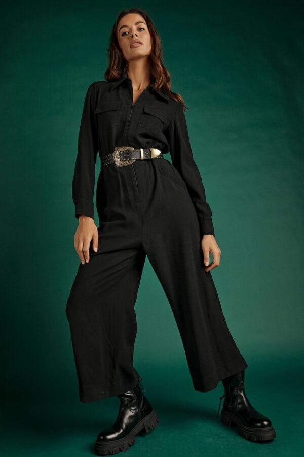 Black Cargo Jumpsuit