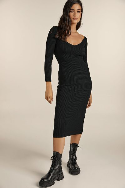 Midi Knit Dress – Black