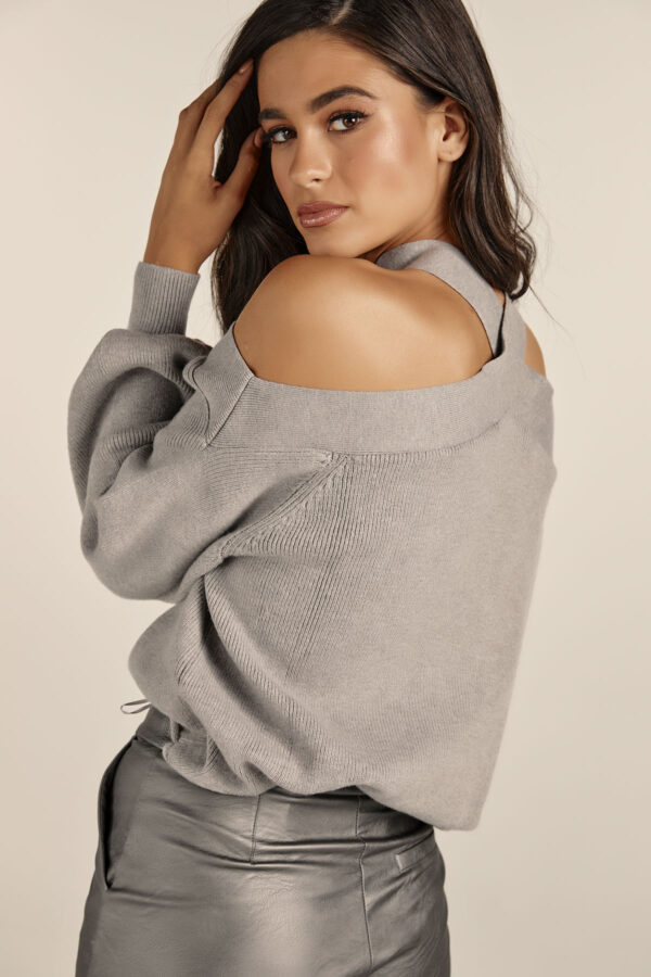 Off Shoulder Grey Knit