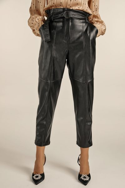 Highwaist Belted Leather Pants – Black