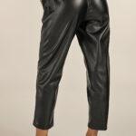 Highwaist Belted Leather Pants – Black