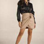 Mini Drapped Leather Skirt – Fango