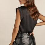 Mini Drapped Leather Skirt – Black