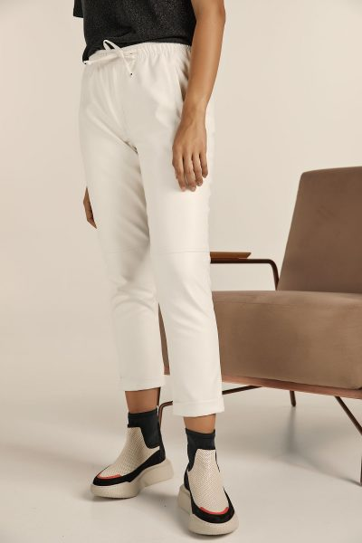 Jogger Leather Pants – White