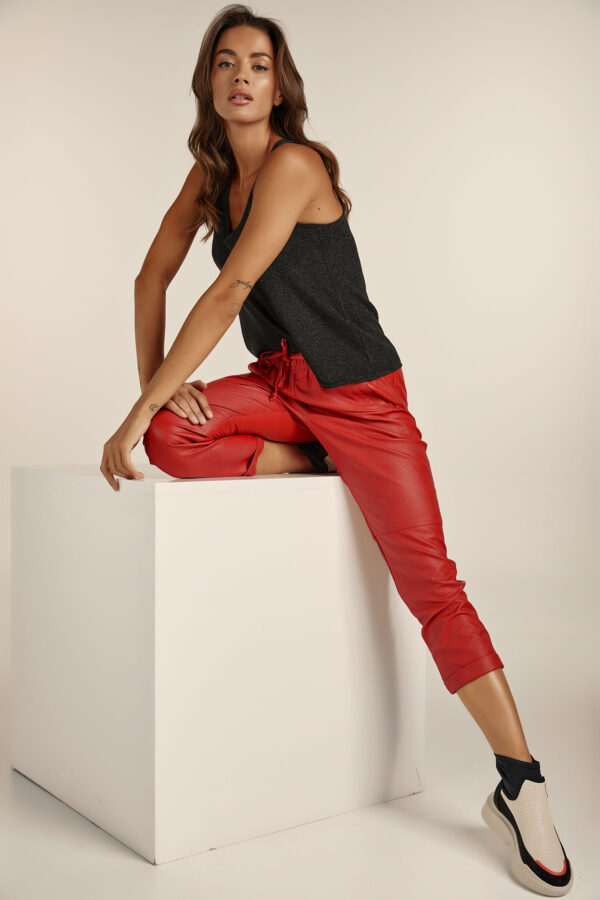Leather Jogger Pants – Red