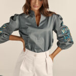 Talitha Embroidery Top – Grey