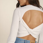 Open Back Knit Top – White