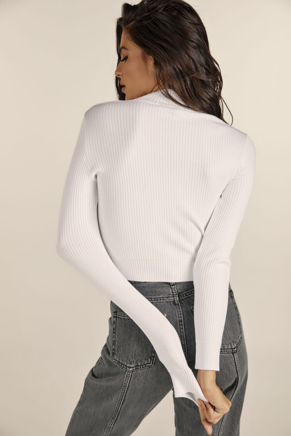 Front Cut Knit Top – White