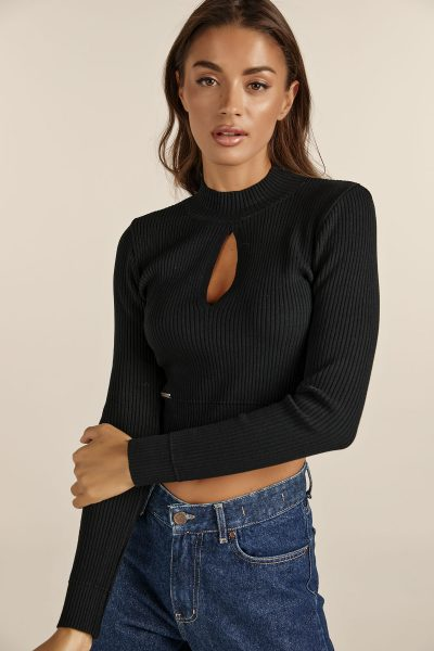Front Cut Knit Top – Black