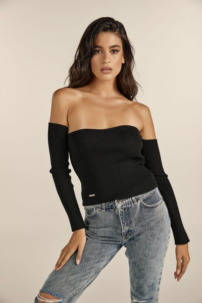 Bustier Knit Top – Black