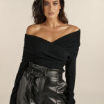 Cross Knit Top – Black