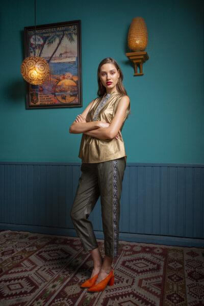 Margarita Leather Jogger Pants – Khaki