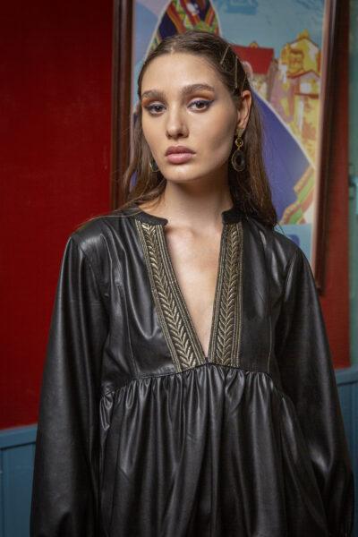 Vereniki Faux Leather Dress – Black