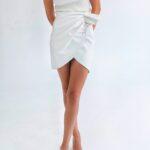 Mini Drapped Leather Skirt – White