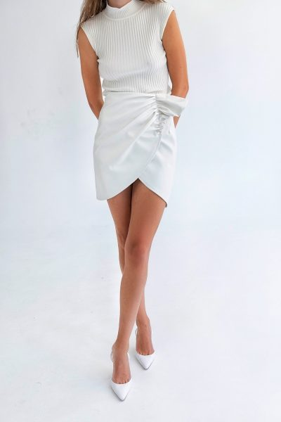 Mini Drapped Leather Skirt – White