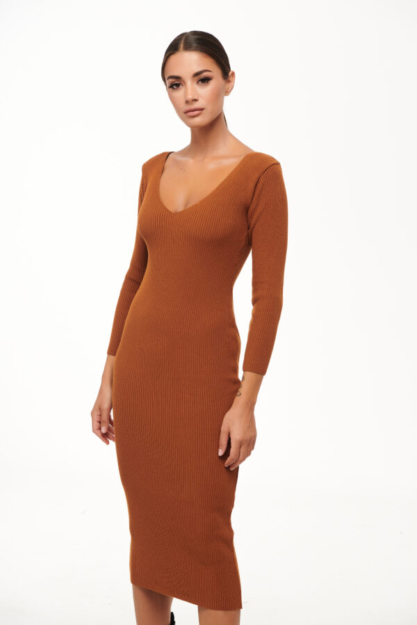Midi Knit Dress – Cinnamon