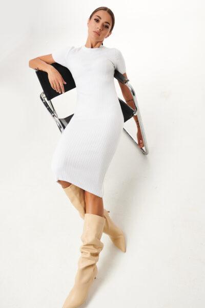 Pencil Knit Dress – White – Black – Cinammon