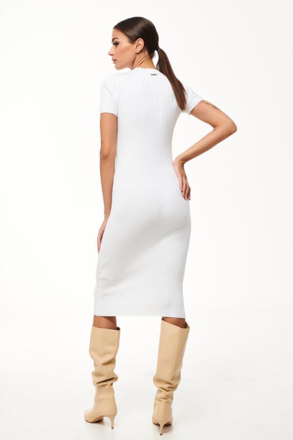 Pencil Knit Dress – White – Black