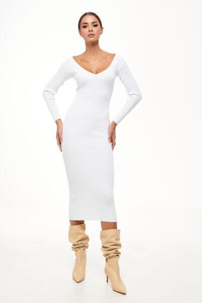 Midi Knit Dress – White