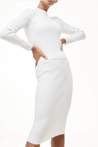 Rib Knit Skirt – White