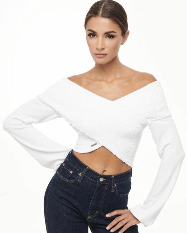 Cross Knit Top – White