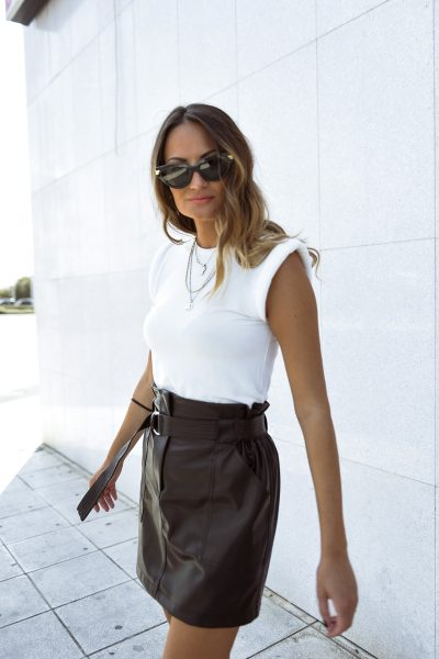 Mini Vegan Leather Skirt – Black