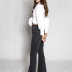 Black Denim Bell Pants