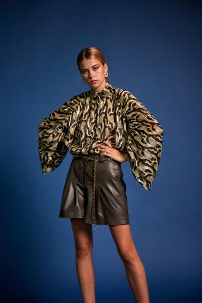 Leather Shorts – Khaki
