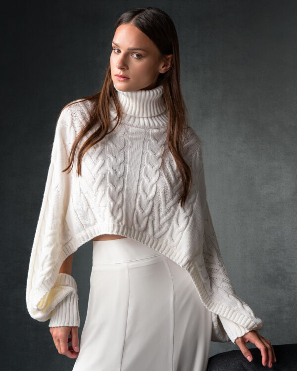 White Oversized Crop Knit