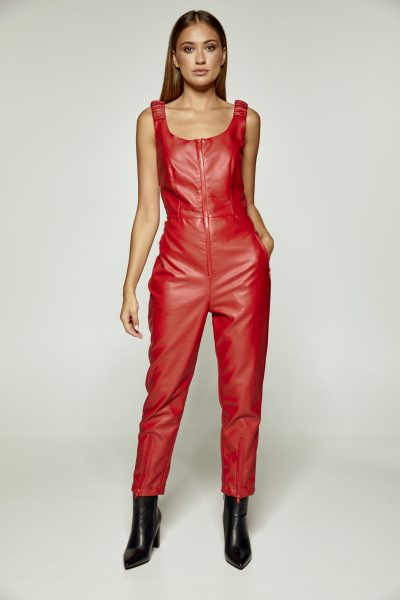 Red Leather Jumpsuit