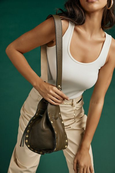 Studded Pouch Bag – Khaki