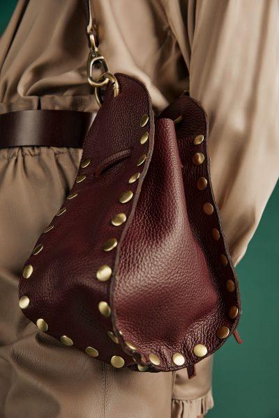 Studded Pouch Bag – Burgundy