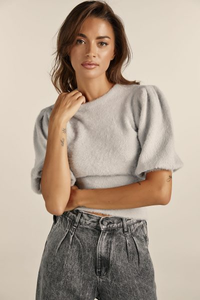 Soft Padded Shoulders Knit – Grey