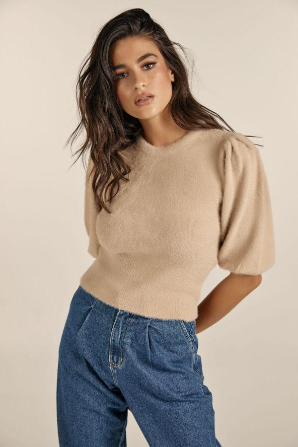 Soft Padded Shoulders Knit – Beige