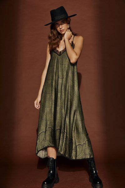 Olive Print Slip Dress
