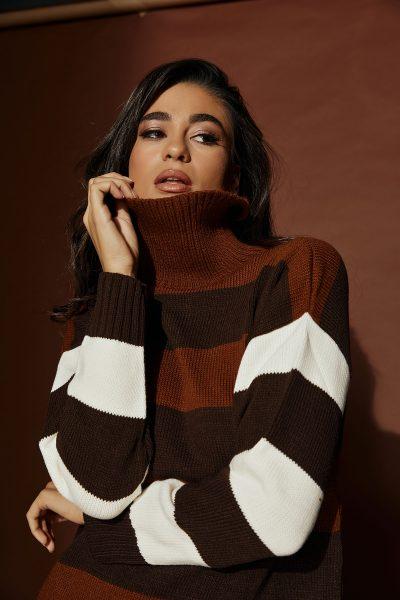 Brown Striped Knit
