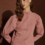 Dusty Pink Padded Shoulders Knit