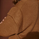 Camel Padded Shoulders Knit