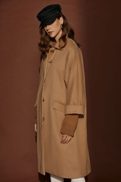 Oversized Coat Black – Camel