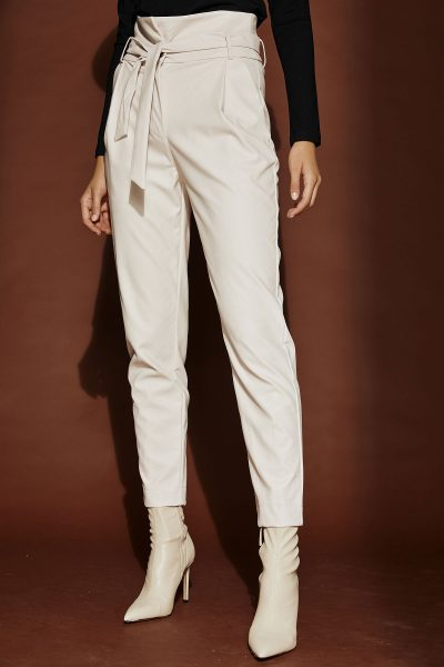 Belted Leather Pants – White