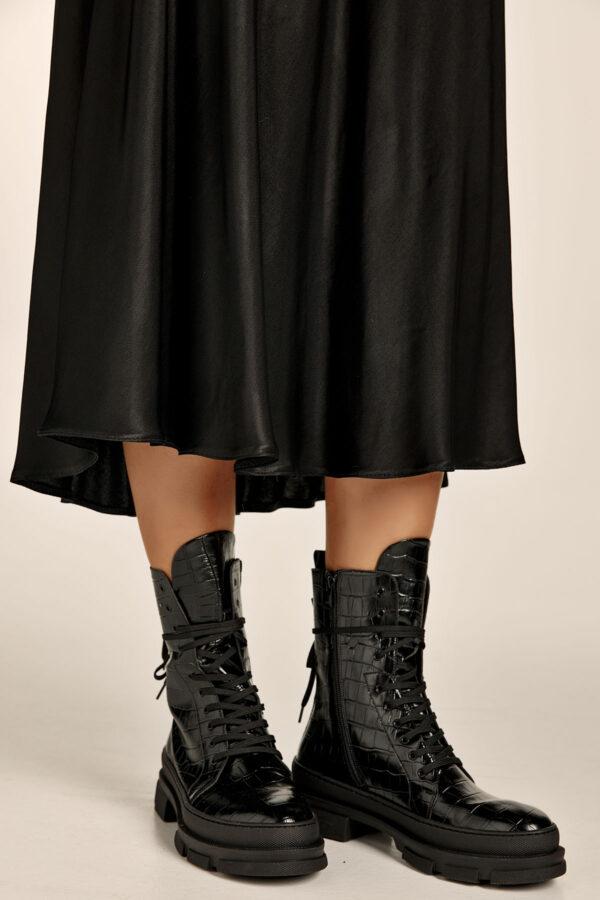 A70 Black Eco Croco Booties