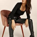 Highwaist Slim Fit Leather Pants