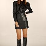 Zip Leather Mini Skirt